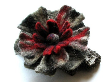 valentines gift for her - Felted Flower Brooch  -  Flower Pin - Boho - Gifts Ideas - Felt Brooch