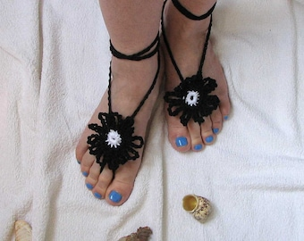Ladies  Barefoot Sandals- Black crochet barefoot sandals Bridal Foot jewelry Beach wedding barefoot sandals-Lace shoes-Beach wedding sandals