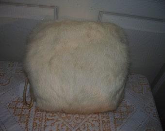 Vintage White Rabbit Muff - White Satin Interior - Zippered Interior Pocket