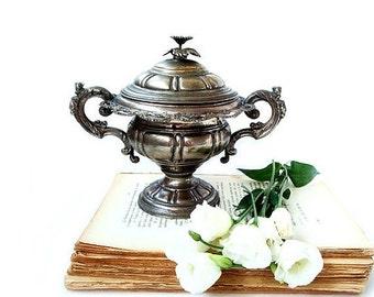 SALE Antique Silver Plate Sugar Bowl , Ornate Victorian Silver Plated Sugar Bowl, Antique silver plate tableware .