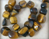 "Tigers Eye Beads - Tigers Eye Tumbled Nuggets - Medium Size Nuggets - 23 Beads - 8"" Strand"