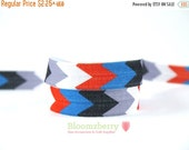 "ON SALE 5% OFF 5/8""Printed Fold Over Elastic - White/Red/Blue/BLack/Gray Chevron - Printed Chevron Elastic - Hair Accessories Supplies"