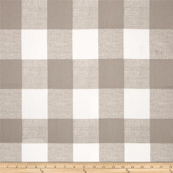 Ecru taupe beige white buffalo check curtains by zeldabelle