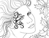 Christmas Fae - digital stamp, colouring page, printable, instant download