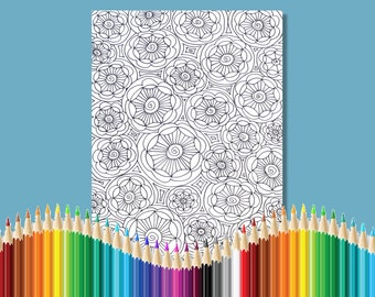 Coloring Pages for Adults Flower Circles Zentangle Instant Download