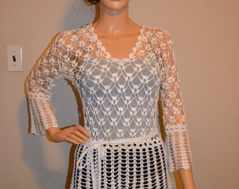 Beautiful-White Custom Made Cotton Size Hand Crocheted Sweater - Sizes 0 to 20