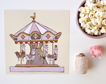 Llama carousel art print