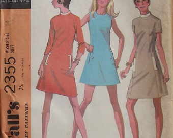 Vintage 1970 McCalls Dress Pattern With Sleeve And Collar Options