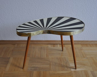 10% OFF Rare Original Mid Century Plant Stand. Striped. Black and pearl white.Plant stand.  1950s. Small Table. Germany. 1082