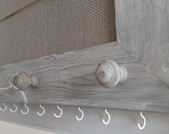 Burlap Cork Board with Clothes Pin Lines-Distressed Weathered Gray Finish-Custom Distressed Framed Cork Board-White Jewelry Hooks-Gray Knobs
