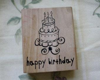 Happy Birthday Cake Rubber Stamp