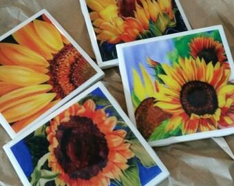 Sunflower, Coaster Set, Wine Coaster, Drink Coasters, yellow Sunflower Art, home decor, decorative sunflowers, Ladies Gift, Hostess gift