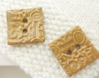 2 x 3.5 cm button - ceramic button - brown button - 1 3/8 inch
