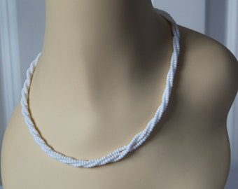 NECKLACE Twisted TripleRows of White Beads   Lovely items