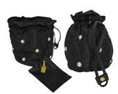 SALE - 20% MOSCHINO by Redwall 1990s Vintage Large Bucket Bag Evening Handbag Black Nylon Faux Pearls