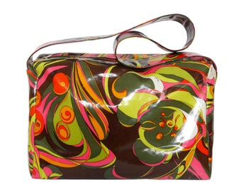 EMILIO PUCCI 1970s Vintage XL Handbag Large Shoulderbag Weekender Gym Bag Beach Bag Signature Print