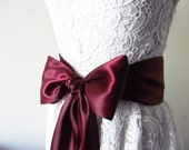Burgundy Satin  Ribbon Sash / Burgundy Ribbon Sash /  DIY bridal sash / 12ft sash / 9 ft sash /6ft sash