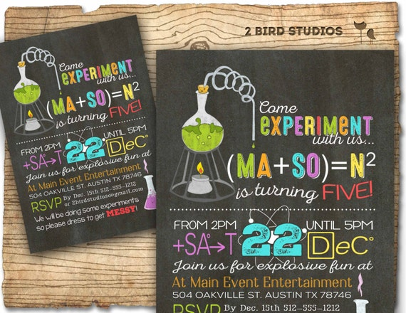 Science birthday party invitation Science birthday invitations