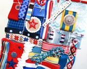 Nautical Inspiration Kit*Vintage Lace, Ribbons and Trims*Red White and Blue Mosaic