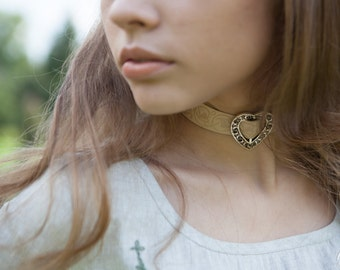 """Leather Choker """"Fairy Tale"""" exclusive fantasy style necklace"""