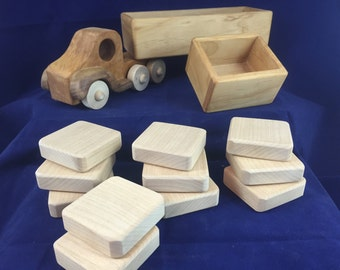 Wood Toy Truck & Wood Blocks (2 Trucks in 1) 14 piece Modular Wooden Truck Set / Beeswax Finish Tractor Trailer Wooden Truck  # 160705