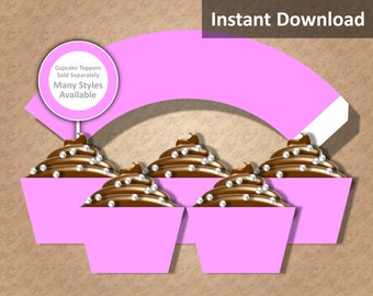Solid Pink Cupcake Wrapper Instant Download, Party Decorations