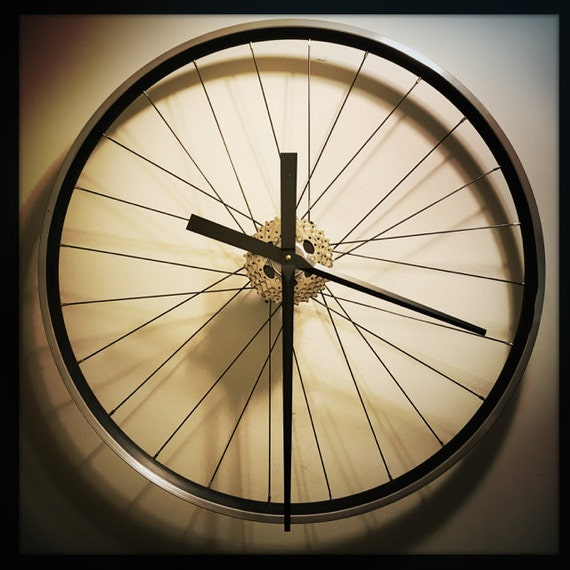 Bike Design Wall Clock : Large wall clock bicycle wheel industrial decor boho