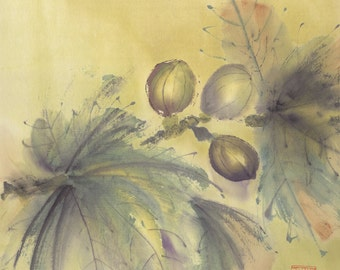 Fall Figs Original Chinese Brush Painting