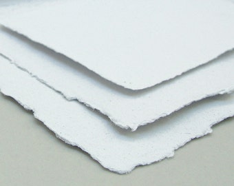 White paper sample set, wedding invitation, handmade recycled papers, deckle edge, 4 sheets