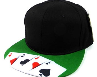 Custom Embroidery Black Green Ace Cards Poker Hat Snapback