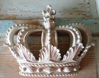 Shabby Chic Princess Crown Vintage white Chippy Distressed * NEW * Many Vintage colors to choose from!  do it yourself Chic!
