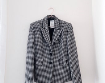 vintage fitted houndstooth blazer from the 1980s by WAREHOUSE