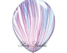 Frozen Balloons | 25 Swirl Balloons | Agate Balloons in Purple, White and Blue for your Party, Wedding, or Shower | Frozen Birthday