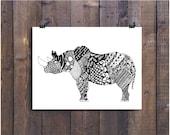 Art, Black and White Art, Pen and Ink Art, Rhinoceros Drawing, Rhinoceros Art, Signed 12 x 18 Print Home Decor Design Drawing
