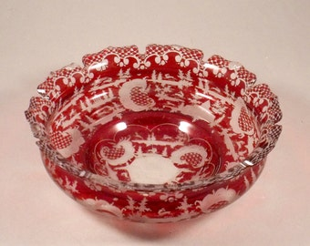 Antique Bohemian Overlaid Ruby Glass Etched with Animals, Scrolls, Buildings
