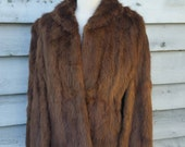 Brown Lush Fur Vintage Cape Small Medium Size