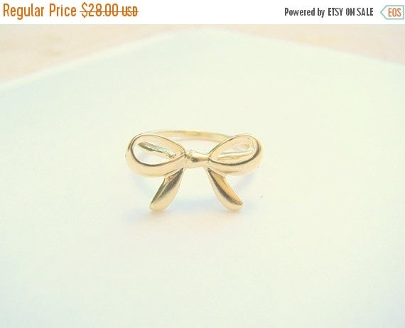 SALE - Bow ring - Gold ring - Bow gold ring - Gold ribbon ring - Thin delicate ring - Best friends ring - Forget me knot ring, (8.5)