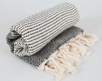 Set of 2 100% Cotton Hamam Towel Beach Towel Hammam Peshtemal Turkish Towel Sarong Spa Sauna Beach Fouta Towel BLACK
