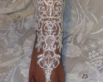 Ivory Lace Wedding Barefoot Sandals Lace Beach Wedding Barefoot Sandals
