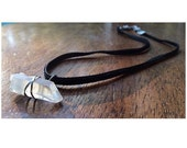 Sterling Silver Wire Wrapped Crystal Quartz - Velvet Choker, Suede, Rough Crystal