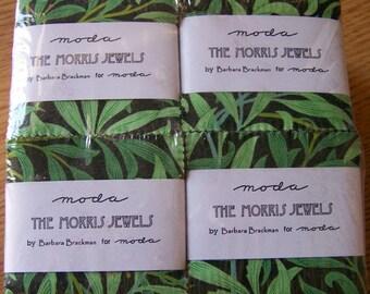 "Set of (4) THE MORRIS JEWELS Mini Charm Packs designed by Barbara Brackman for Moda - 2.5"" squares"