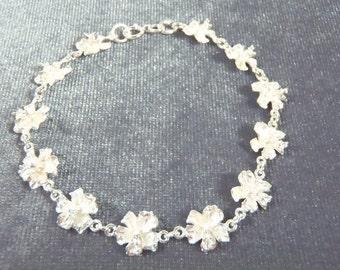 Sterling Silver Hibiscus Bracelet B25