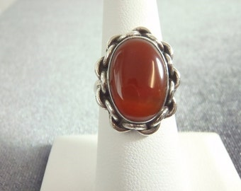 Sterling Silver Carnelian Chain Design Ring Sz.7 R75