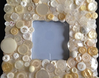 White Button Covered Picture Frame with Clear Dragonfly Accent