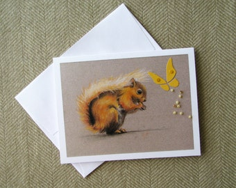 Red squirrel and butterfly card/ cute animal card/ blank card/ nature card/ friendship card/ sympathy card/ pastel drawing