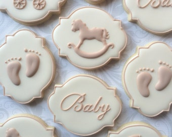 Elegant Gender Neutral Baby Shower Cookies - One Dozen  Decorated Sugar Cookies
