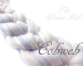 Blended Merino wool tops - Tussah silk - - Roving - 100g - 3.5oz -  COBWEB - White - grey - pearl -  blue - lilac - Shimmer fiber - sparkle