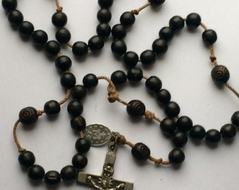 Original antique wooden nuns rosary made of ebony beads with cross