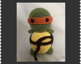Turtle Toy, Stuffed Turtle, Michelangelo, Ninja Turtle, TMNT, Orange Ninja Turtle, Stuffed TMNT, TMNT Toy, Turtle, Stuffed Toy, Nursey, Gift