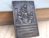 20% OFF use coupon code SAVE20 Vintage Virgin Mary and Jesus Child Embossed Silver Religious Plaque, Maria SS del Rosario in Pompei
